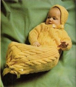 Knit Snuggle Bunny Baby Bunting