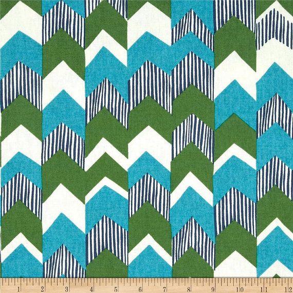 Teal green blue and ivory chevron curtain panels custom drapery i