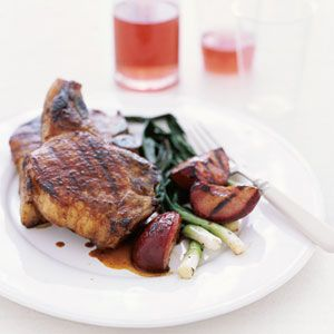 Five-Spice Pork Chops with Grilled Plums Recipe | MyRecipes.com