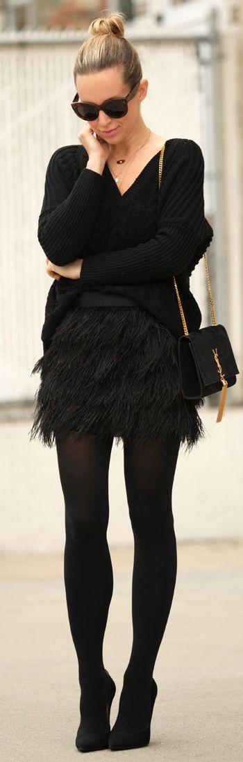 Black Feather Mini Skirt by Brooklyn Blonde