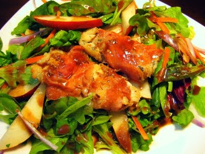 PROSCIUTTO WRAPPED HADDOCK ON SPINACH & PEAR SALAD WITH CREAMY ...