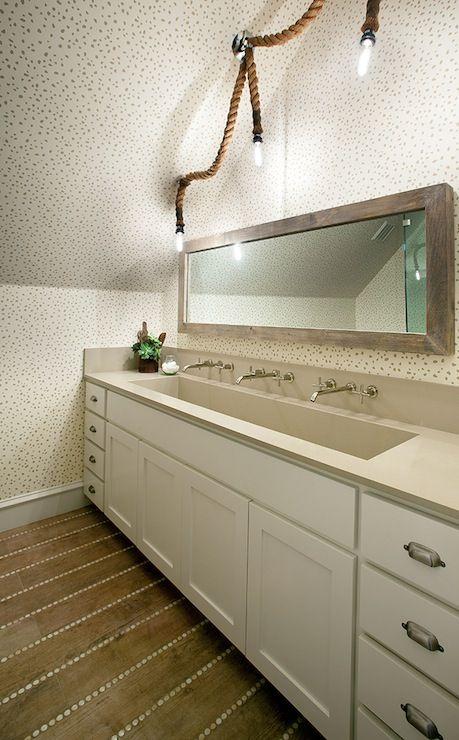 ... , speckled wallpaper, attic bathroom, trough sink, bathroom