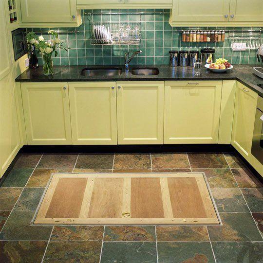 Trapdoor in the kitchen floor spiral wine cellars - Wine cellar trap door ...
