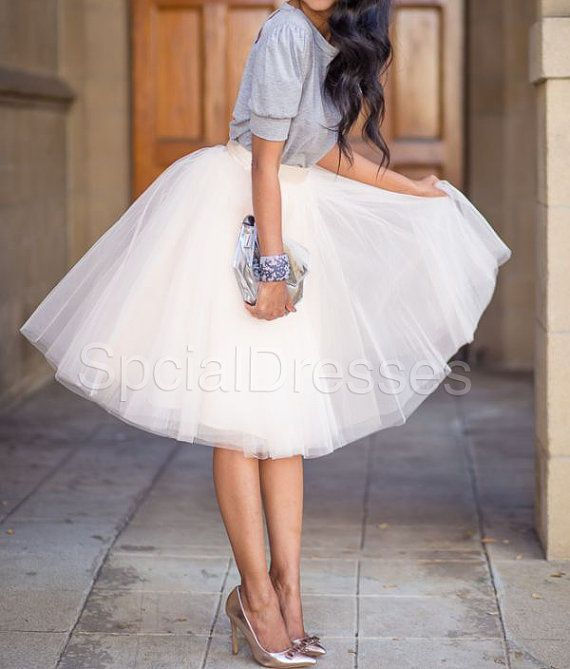 Cute Off White Tutu Tulle Skirt