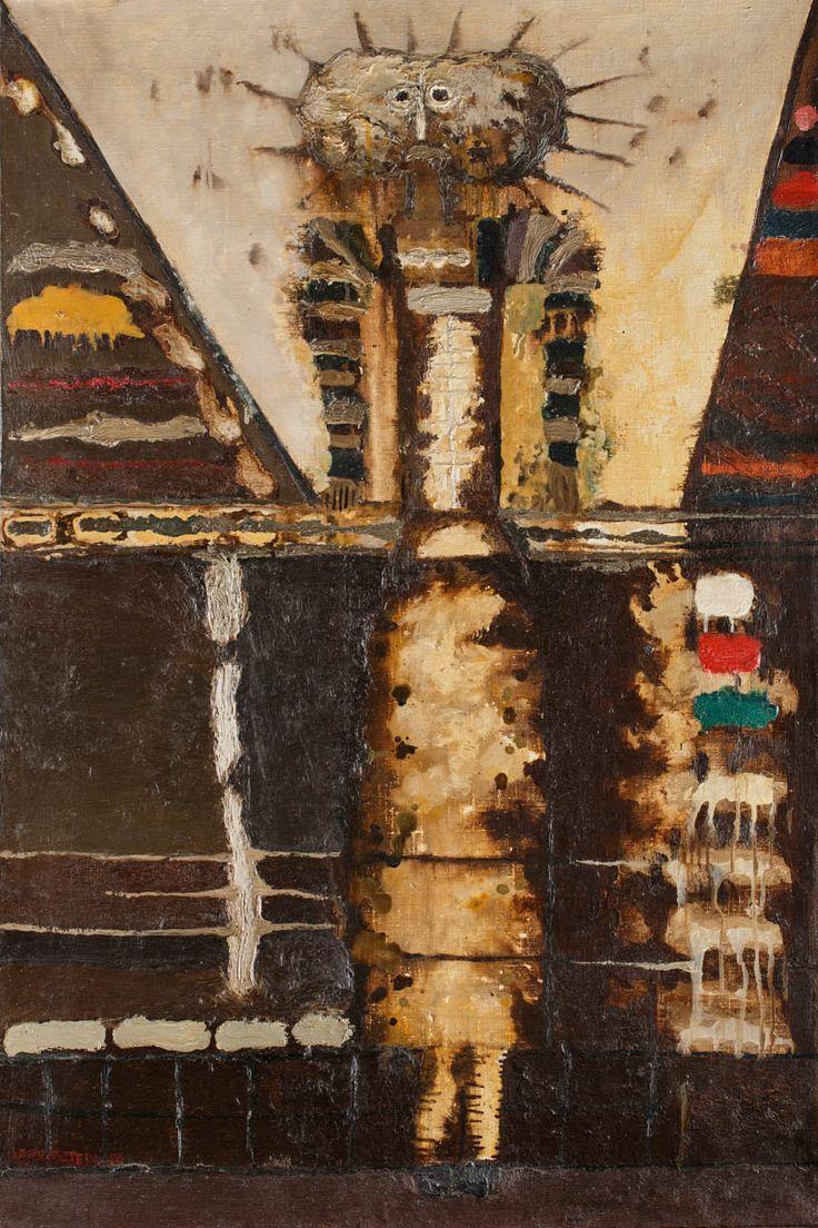 Jan Lebenstein (1930-1999), Figura hieratyczna; 1956 r.; olej, płótno