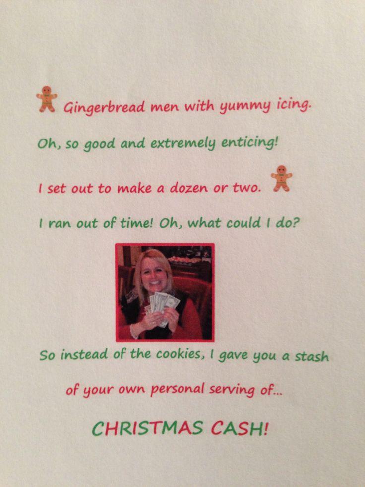 Gingerbread cash christmas idea poem christmas magic pinterest