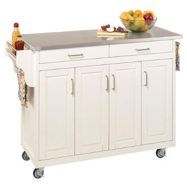 Home styles kitchen cart with stainless steel top white - Target kitchen cart ...