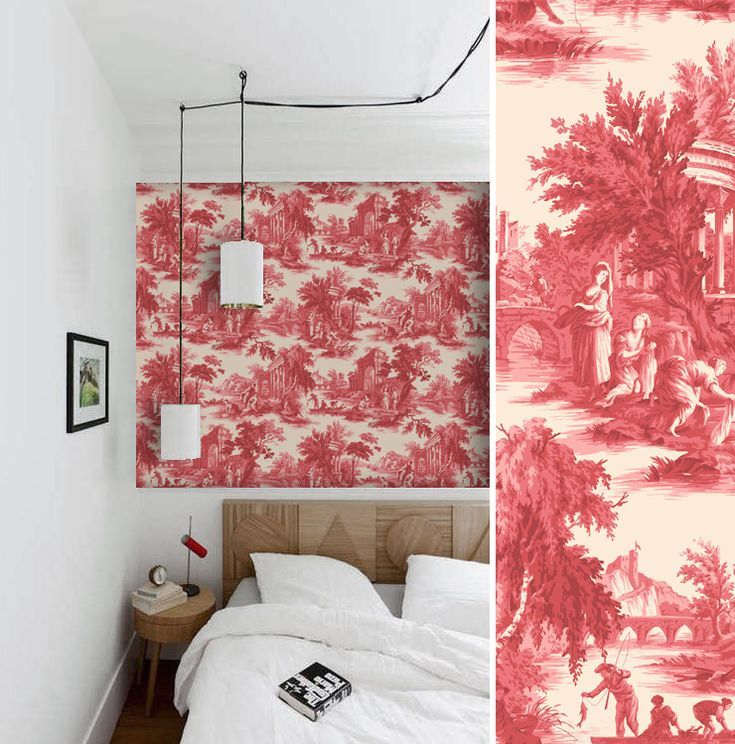 Papier peint toile de jouy cole and son floors walls pinter - Papier peint toile de jouy ...