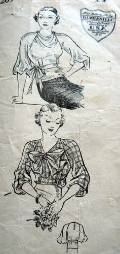 1930s blouse pattern with raglan sleeves