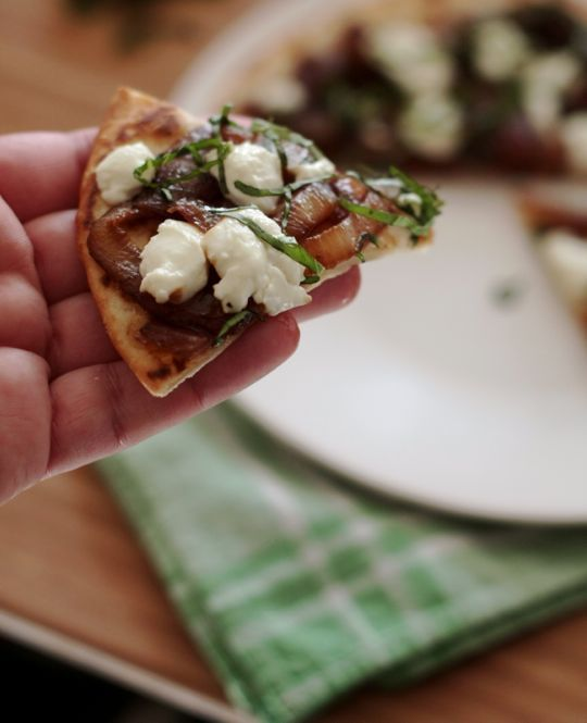 ... Recipe: Flatbreads with Goat Cheese, Caramelized Onions, and Basil