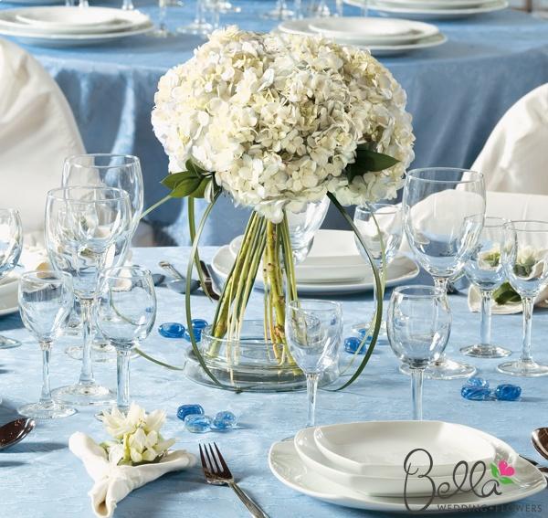 White hydrangeas centerpiece diy our beachy wedding