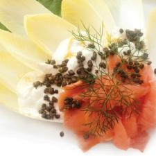 Endive Leaves with Lemon Ricotta, Smoked Salmon and Fried Capers