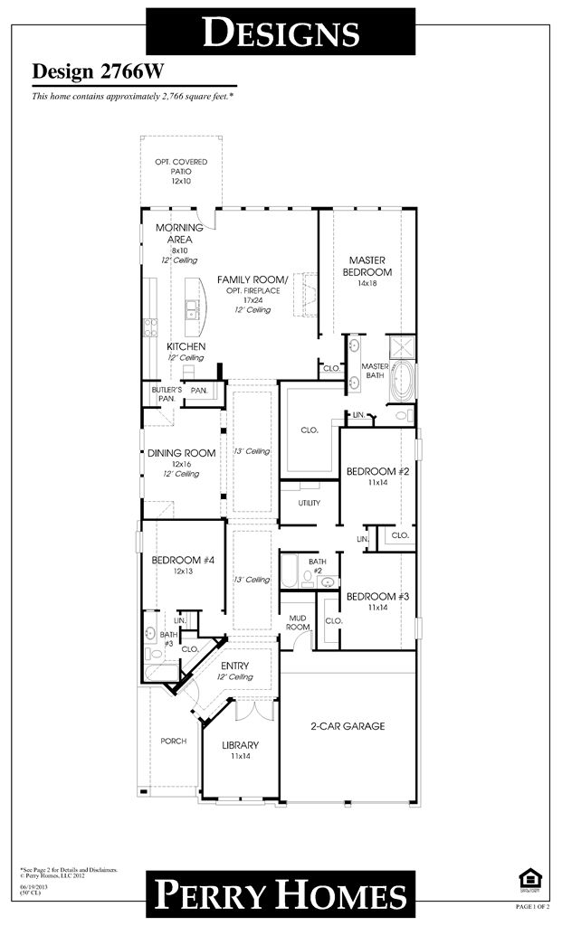 perry homes floor plan for 2766w house plans pinterest