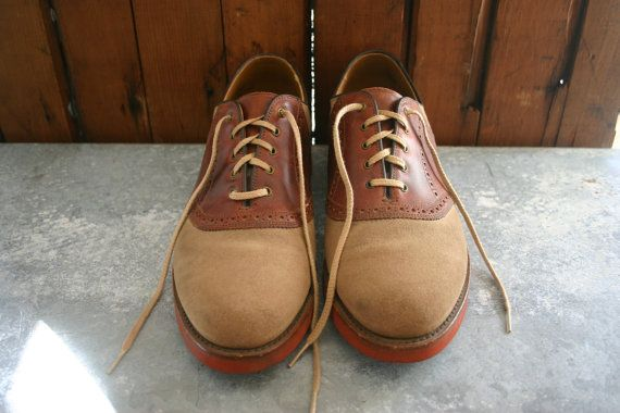 Men's LL Bean Two-Tone Suede & Leather Saddle Shoes