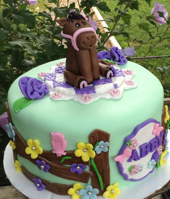 HORSE BIRTHDAY CAKE Topper girls birthday Party by EdibleSugarArt, $45 ...