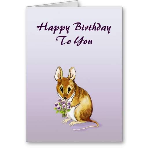 Little Cute Mouse Happy Birthday Card