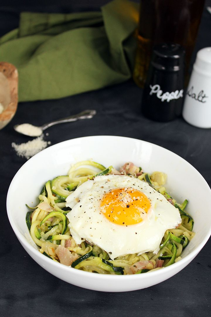 Spiralized Zucchini Pasta Carbonara (sub bacon for...anything veggie ...