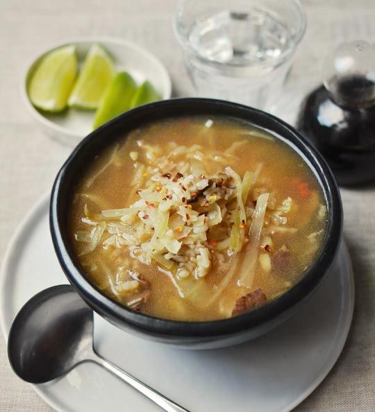 Veggie recipe: Hot and Sour Mushroom, Cabbage, and Rice Soup