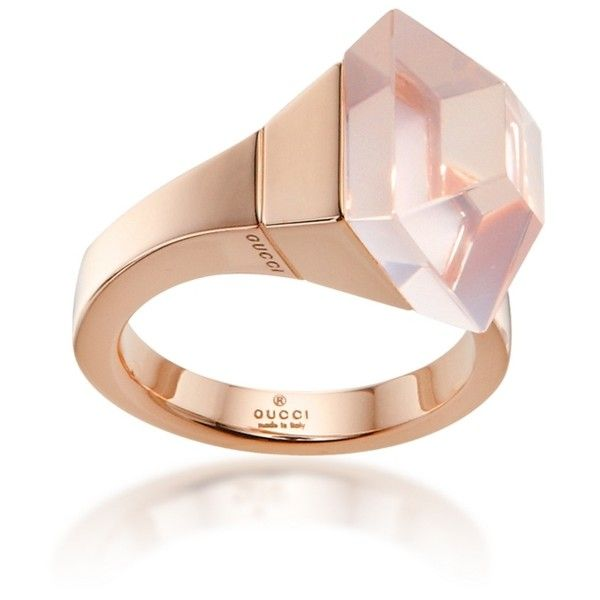 Gucci Gold & Rose Quartz French Horn Cocktail Ring ($1,000) ❤ liked on Polyvore