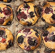 Vegan Vanilla-Mixed Berry Muffins. Used whole wheat flour and added a ...