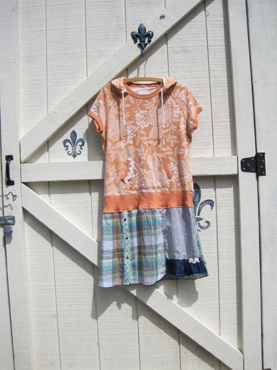 Boho dress, hoodie dress, tattered rustic plaid cottage, apricot gree