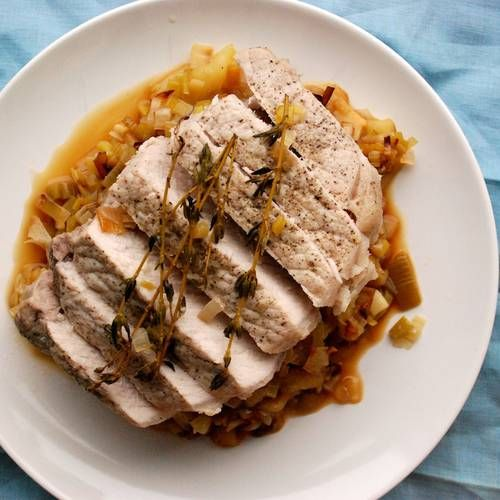 ... AND SO FULL OF FLAVOR! Pork Loin with Cider-Braised Leeks and Apples