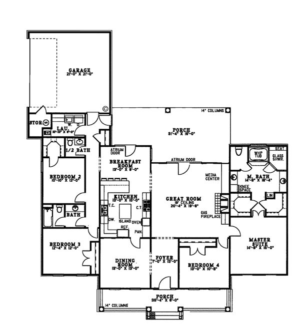 Country Ranch House Plan 61099