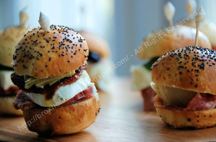 Mini poppyseed Panini rolls for sliders and mini meatball sandwiches.