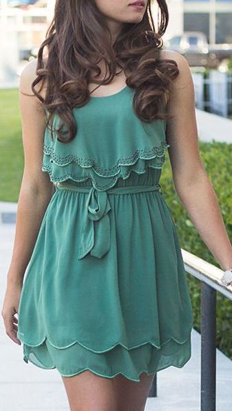 Teal Scalloped Dress