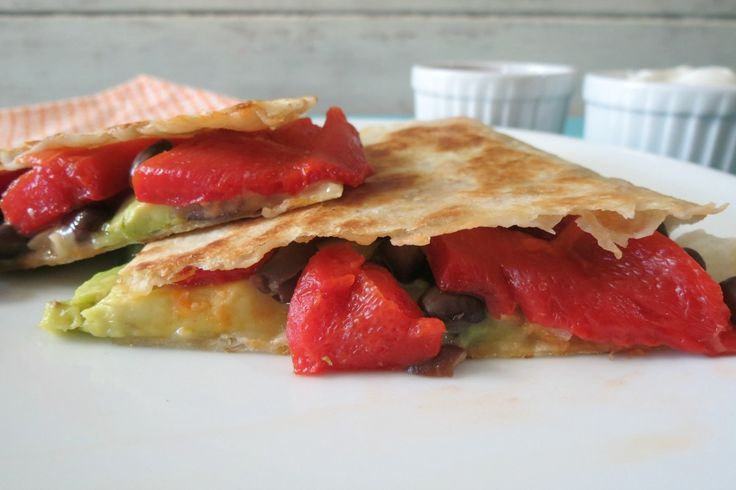 Black Bean and Roasted Red Pepper Quesadilla - A Mexican cuisine made ...