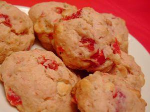 White chocolate cherry scones for Valentine's Day breakfast.