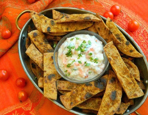 Spiced Chapati Chips With Garden Veggie Raita Dip Recipe - #recipes # ...