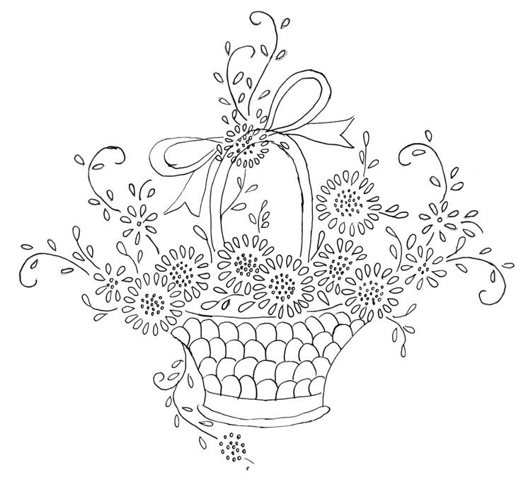 Free Flower Basket Embroidery Designs : Flower basket embroidery pattern esquemas bordado