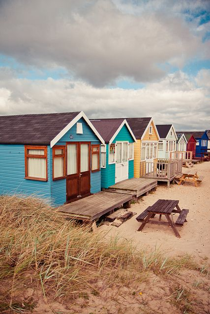 colorful beach huts!