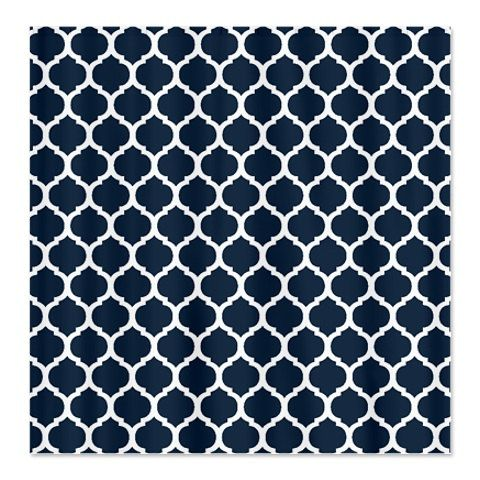 Custom quatrefoil shower curtain navy blue and white or choose colors