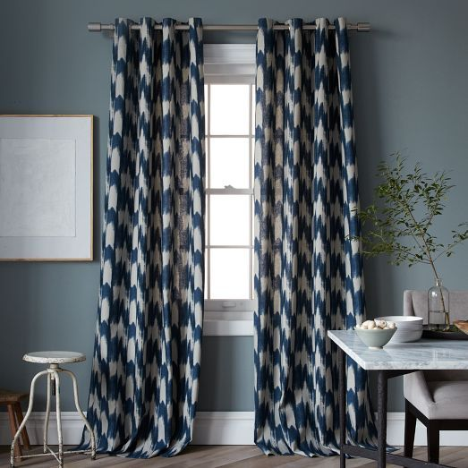 Cheap today at the outlet painted ikat print curtain west elm