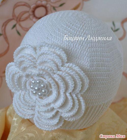 Вязание крючком цветов на шапку 87