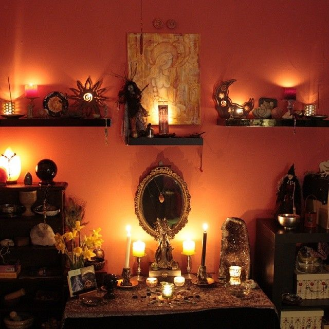 My altar room by candle light pagan pinterest for Pagan decorations for the home