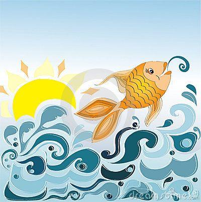 Sea waves and fish