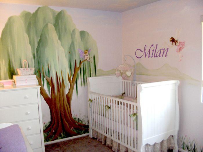 Pretty baby girl nursery ideas pinterest for Fairy mural ideas