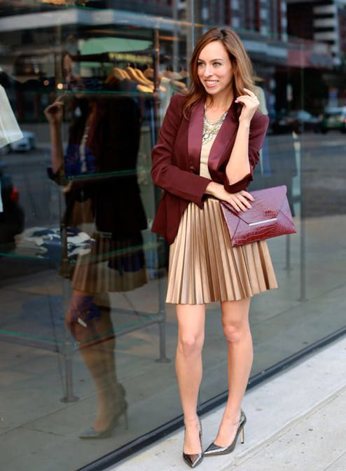 Golden Skirt And Dark Red Blazer