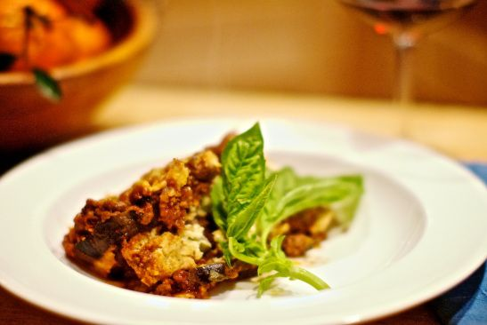 eggplant casserole with lamb and beef like a moussaka