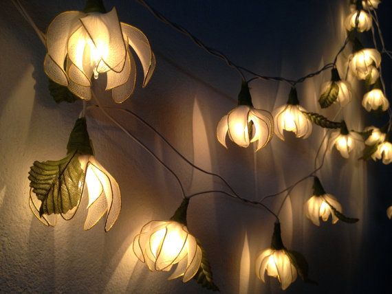 20 white tone ylang ylang flower fairy string lights
