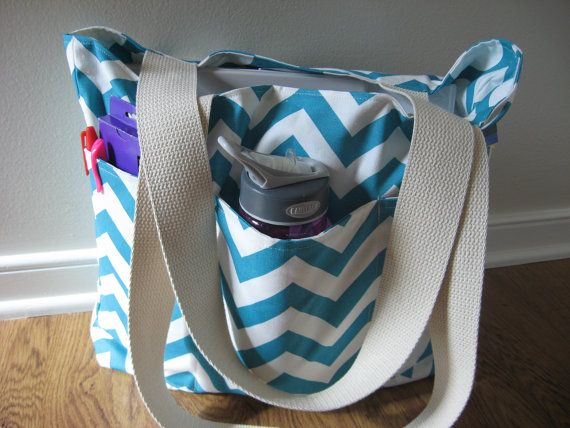 Large Teacher Tote Deluxe REVERSIBLE Chevron by OohBabyInfinity, $62 ...