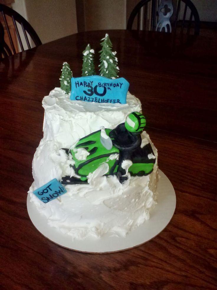 Snowmobile Birthday Cake