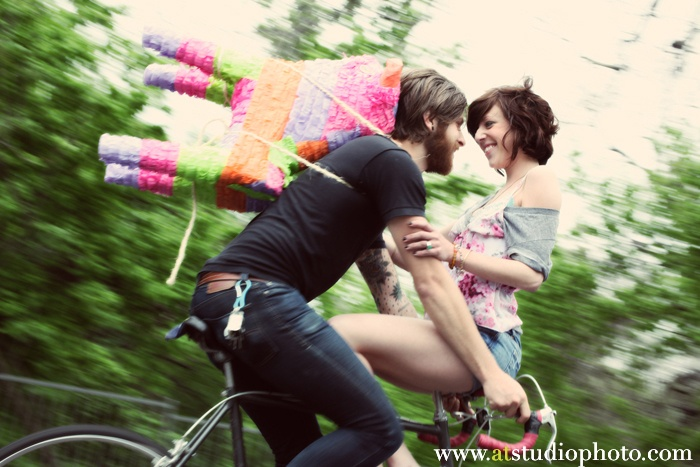 pinata bicylce love engagment photo