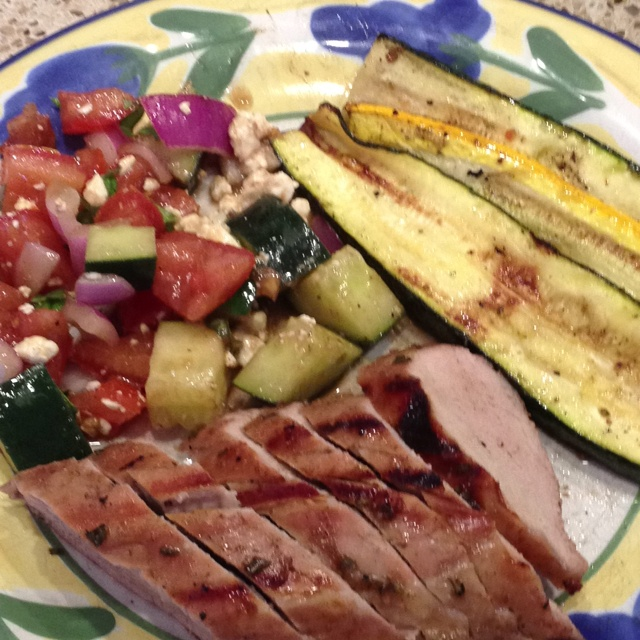 ... glazed pork loin, grilled zucchini and cucumber and tomato salad
