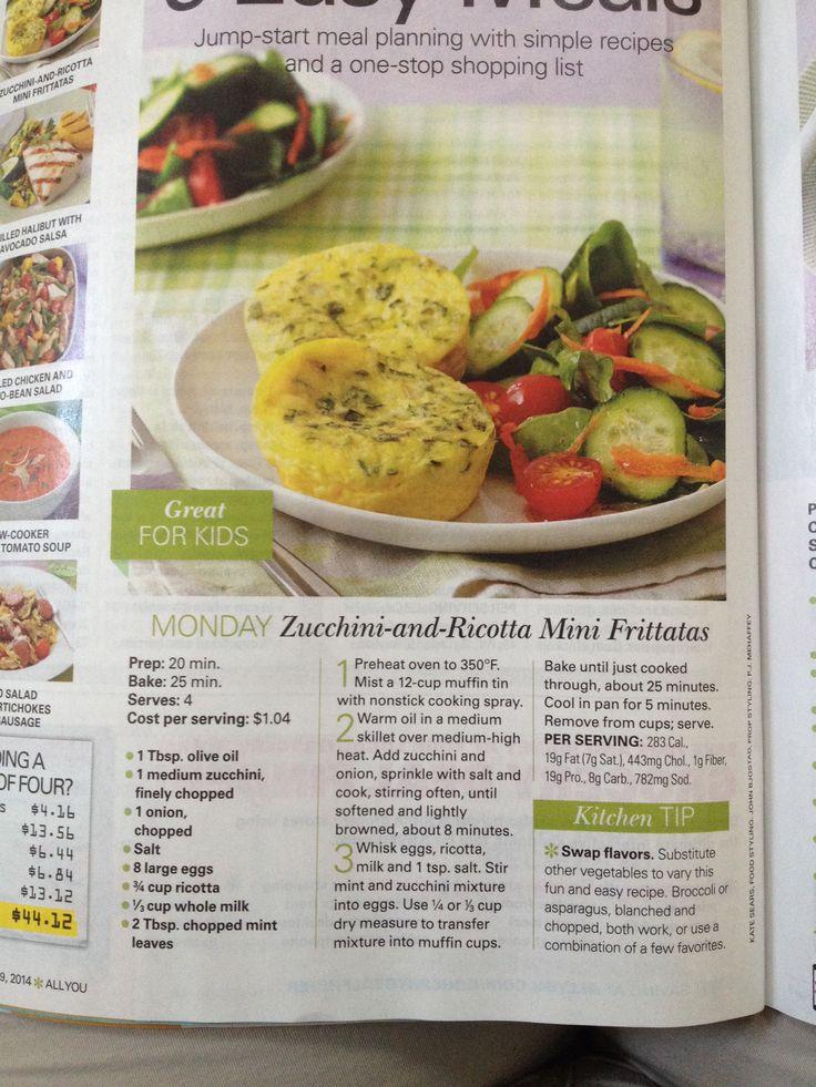 Zucchini and Ricotta Mini Frittatas | Food | Pinterest