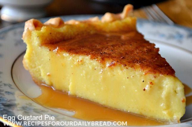Southern Egg Custard Pie | Yummy Desserts! | Pinterest