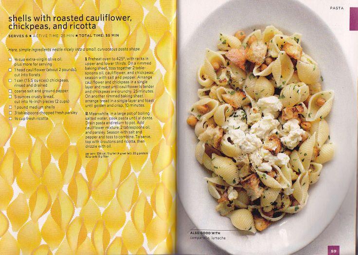 Pasta Shells with Roasted Cauliflower, Chickpeas & Ricotta
